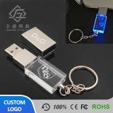 Aandrijving van de Flits van het Glas van het LEIDENE de Lichte 3D Aangepaste Kristal van het Embleem Transparante USB met Keychain