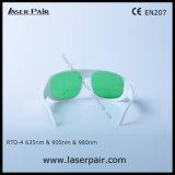 Transmissão de luz visível 37% dos óculos de segurança de laser de 635nm lasers vermelhos 905nm e 980nm os diodos laser com moldura branca 52