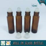 bernsteinfarbige Glasrolle 10ml auf Flasche mit Plastikschutzkappen-und Glas-Rollen-Kugel