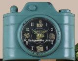 Decoración Vintage antiguo negro Forma de la cámara de metal de forma de reloj de mesa