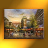 Bella pittura a olio di Parigi Street Scene su Canvas Home Decoration New 2014 Wall Art