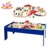 Новые популярные 90 ПК детей большой деревянной железнодорожных поездов Toy с таблицей W04c080