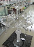 Congelando suporte para velas de vidro com cinco lugares...