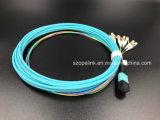 Conjunto de cabo ótico do cabo de correção de programa da fuga do cabo pendente MPO LC da fibra óptica da telecomunicação