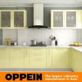 Cabinas de cocina modulares al por mayor de madera de la laca en forma de L moderna (Op16-L02)