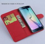 중국 Samsung 은하 S6 셀룰라 전화 상자를 위한 도매 책 작풍 손가락으로 튀김 가죽 상자 덮개