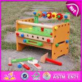 2015 Nova Ferramenta Educativa bricolage Moda Brinquedos, Caixa de ferramentas de madeira coloridos em brinquedos para crianças, Banheira de venda de madeira brinquedo para crianças W03D055