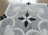 Azulejo de mosaico de mármol gris de Carrara para el cuarto de baño