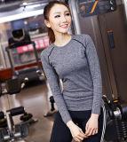Женщины верхних частей спорта Spandex полиэфира 12% оптовой продажи 88%, износ гимнастики, длинняя йога втулки покрывают женщины