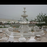 Giardino poco costoso Larger Water Fountain di White Marble Stone con Statue