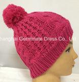 方法ケーブルのポンポン(Hjb053)が付いている編む帽子のピンクの帽子の帽子