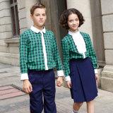 L'été Plaid à manches longues de couleur verte uniforme scolaire