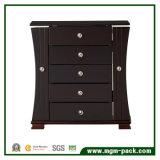 Caixa de armazenamento de madeira da jóia do preto do estilo de Tranditional com 4 gavetas