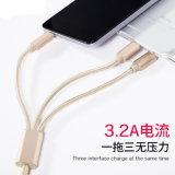 Treccia di nylon 3 della lega di Al in 1 cavo del USB