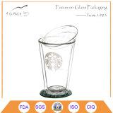 400ml comerciano la tazza all'ingrosso di caffè di vetro riutilizzabile del POT di fiore della tazza di caffè