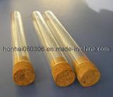 Plain cou tube à essai de verre à fond rond avec bouchon en liège