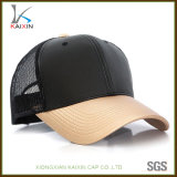 Chapéu do camionista do couro do tampão do engranzamento do basebol do painel do costume 6