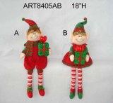 Мальчик украшения рождества & девушка Elf-2asst