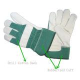 De groene Werkende Handschoen van de Palm van het Leer van de Korrel van de Koe Volledige (3101. GN)