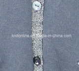 Les filles de l'acrylique Veste en tricot avec fil d'argent en ligne Placket et du cou, star de la broderie sur Pocket