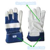 De blauwe Handschoen van de Palm van het Leer van de Korrel van de Koe Volledige (3101. BL)