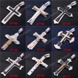 Projetos simples da colar do pendente da cruz do preto da cruz da cruz do aço inoxidável do metal do Mens (IO-st000000)