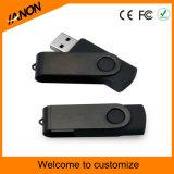 Vara do USB preto da movimentação e do Twister do flash do USB do giro com seu logotipo