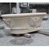 Sculpture de Pierre en marbre jaune d'une baignoire pour la décoration intérieure (sy-BT001)