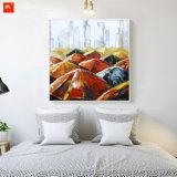 傘の壁の芸術の通り場面油絵