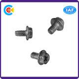 DIN/ANSI/BS/JIS Stainless-Steel Carbon-Steel/traversé vis à embase hexagonale de dents triangulaires pour la construction