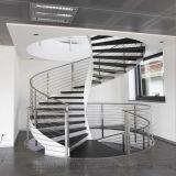 Escalera curvada popular del vidrio de placa de acero de la venta caliente