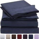 刺繍のシーツセットが付いている極度の柔らかい90GSM枕箱の平らなシート