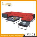 Sofà di alluminio rosso dell'angolo del rattan della mobilia del giardino di zona di ricreazione esterna della piscina