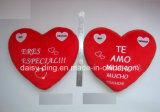 Kussen van het Hart van de Valentijnskaart van de pluche het Roze met Borduurwerk