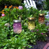 Indicatore luminoso di vetro solare del vaso di rivestimento placcato oro bianco caldo della luce intermittente LED