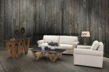 Mesa de café em madeira de pinho maciço retangular, sala de estar Mesa de madeira em pedra