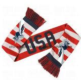 Sciarpe acriliche di 100% Kint con il disegno degli S.U.A. del tessuto del jacquard
