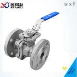 2PC a bridé robinet à tournant sphérique d'acier inoxydable avec la garniture inférieure de support