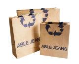 ロゴプリントギフト袋が付いているカスタムブラウンクラフト紙のショッピング・バッグ