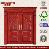 Puerta de entrada doble de madera sólida del garage (XS1-006)