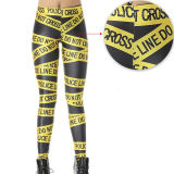 El poliéster de color amarillo caliente Cordon Imprimir Leggings