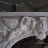 Chimenea de mármol tallado fuertemente tallas Mantel incluyen el tamaño de la vida de los niños la lectura de libros y los ángeles volando