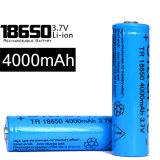18650 4000 LEDの懐中電燈のためのmAh 3.7Vの充電電池