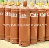 Cilindro dell'acetilene da 40 litri (7.2KG C2H2) con le protezioni d'acciaio della valvola