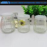 Streifen-Glasflasche mit Plastikschutzkappen für Yougurt oder Pudding