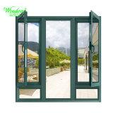 Janela de alumínio vidro isolante duplo com persianas de madeira