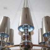 Proveedor chino de hierro cromado lámpara colgante con Pk sombra