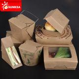 カスタムロゴによって印刷される使い捨て可能なクラフト紙の昼食の食糧ボックス