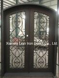 Porta de entrada dobro do ferro feito da segurança com vidro