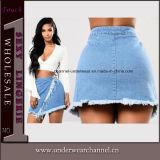 Corto de moda asimétrica de las mujeres Borla Algodón Denim Faldas de fiesta